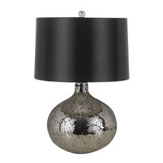 Modern Table Lamp with Black Shade in Mosaic Finish