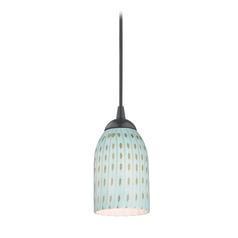 Design Classics Lighting Modern Mini-Pendant Light with Blue Glass 582-07 GL1003D