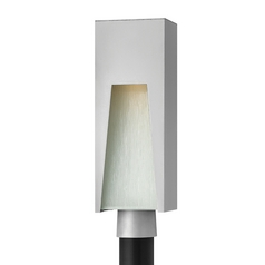 Modern LED Post Light with White Glass in Titanium Finish
