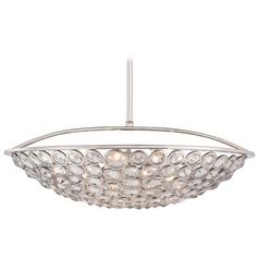 Crystal Bowl Pendant Light in Polished Nickel Finish
