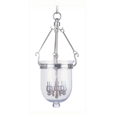Seeded Glass Pendant Light Polished Nickel Livex Lighting