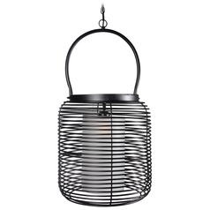 Kenroy Home Lighting Foundry Black Pendant Light with Cylindrical Shade