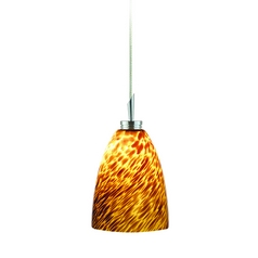 Modern Low Voltage Mini-Pendant Light with Brown Glass