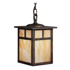 Kichler Lighting Outdoor Hanging Light with Beige / Cream Glass in Canyon View Finish 9849CV
