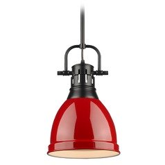 Golden Lighting Duncan Black Mini-Pendant Light with Red Shade