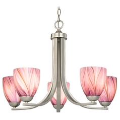 Chandelier with Pink Art Glass in Satin Nickel Finish