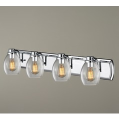 Industrial 4-Light Vanity Light with Clear Glass in Chrome