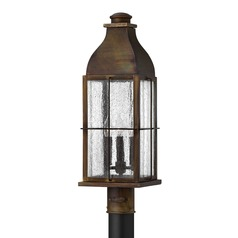 Industrial Seeded Glass Post Light Bronze Hinkley Lighting