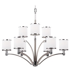 Feiss Prospect Park 2-Tier 9-Light Chandelier in Satin Nickel / Chrome