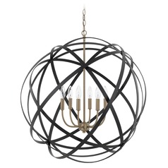 Capital Lighting Axis Aged Brass and Black Pendant Light with Globe Shade