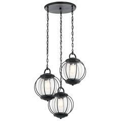 Seeded Glass Outdoor Hanging Light Black Kichler Lighting