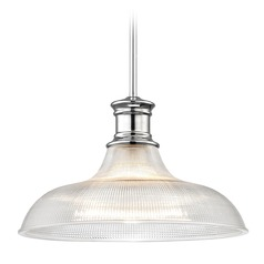 Chrome Prismatic Glass Pendant Light 15.38-Inch Wide