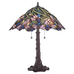 Quoizel Tiffany Antique Bronze Table Lamp with Conical Shade