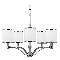 Feiss Prospect Park 5-Light Chandelier in Satin Nickel / Chrome