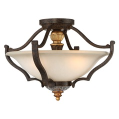 Chateau Nobles Raven Bronze with Sunburst Gold Semi-Flushmount Light