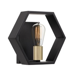 Modern Earth Black and Painted Gold 1-Light Sconce