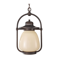 Outdoor Hanging Light with Beige / Cream Glass in Grecian Bronze Finish