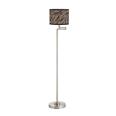 Swing Arm Floor Lamp with Zebra Drum Lamp Shade
