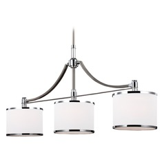 Feiss Lighting Prospect Park Satin Nickel / Chrome Island Light with Drum Shade