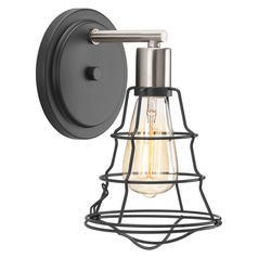 Industrial Sconce Graphite with Brushed Nickel Accents Gauge by Progress Lighting