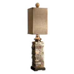 Console & Buffet Lamp with Brown Shade in Cast Aluminum Finish