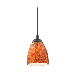 Design Classics Lighting Modern Mini-Pendant Light with Art Glass 582-07  GL1012MB