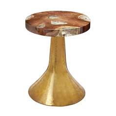 Hammered Decorative Teak Table in Gold