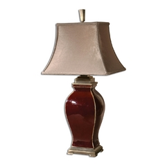 Table Lamp with Beige / Cream Shade in Burgundy Finish