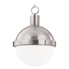Pendant Light with White Glass in Satin Nickel Finish
