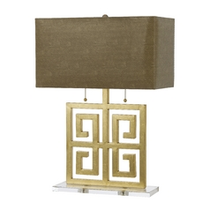 Modern Table Lamp with Beige / Cream Shades in Gold Finish