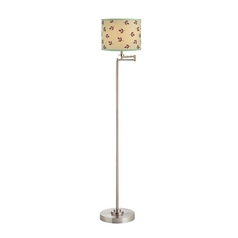 Swing Arm Floor Lamp with Mint Drum Lamp Shade