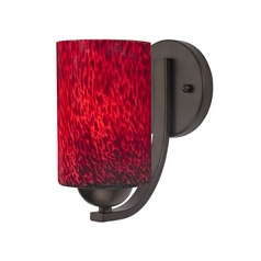 Red Art Glass Wall Sconce in Bronze Finish with Cylinder Shade