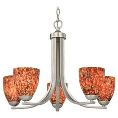 Chandelier with Art Glass in Satin Nickel Finish