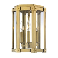 Modern Semi-Flushmount Light with Clear Glass in Aged Brass Finish