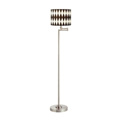 Design Classics Lighting Pauz Swing Arm Floor Lamp with Harlequin Drum Lamp Shade 1901-09 SH9491