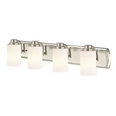 4-Light Bathroom Light in Satin Nickel with White Cylinder Art Glass