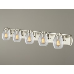 Industrial 5-Light Bathroom Light with Clear Glass in Satin Nickel