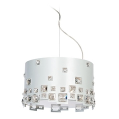 Lite Source Lighting Isabella White Pendant Light with Drum Shade