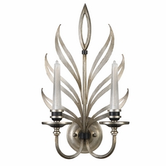 Fine Art Lamps Villandry Silver Antique Silver Leaf with Black Sconce