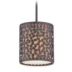 Quoizel Lighting Confetti Rustic Black Mini-Pendant Light with Cylindrical Shade