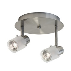 Kuzco Lighting Modern Brushed Nickel Monopoint Spot Light with Frosted Shade
