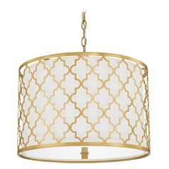 Capital Lighting Ellis Capital Gold Pendant Light with Drum Shade