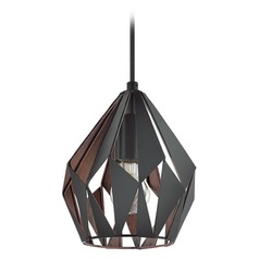 Eglo Carlton 3 Matte Black & Copper Mini-Pendant Light with Bowl / Dome Shade