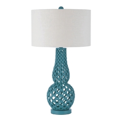 Table Lamp with White Shade in Blue Finish
