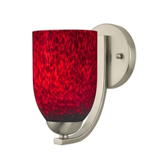 Contemporary Wall Sconce with Red Art Glass Shade