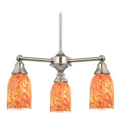 Mini-Chandelier with Art Glass in Satin Nickel Finish