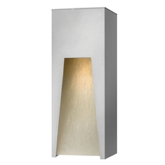 Modern LED Outdoor Wall Light with White Glass in Titanium Finish