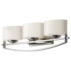 Modern Bathroom Light with White Glass in Polished Nickel Finish