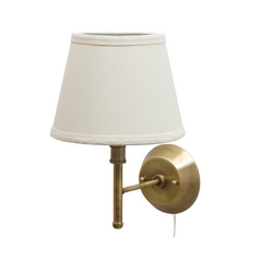 Pin-Up Lamp with White Shade in Antique Brass Finish