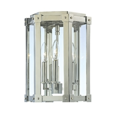 Modern Semi-Flushmount Light with Clear Glass in Polished Nickel Finish